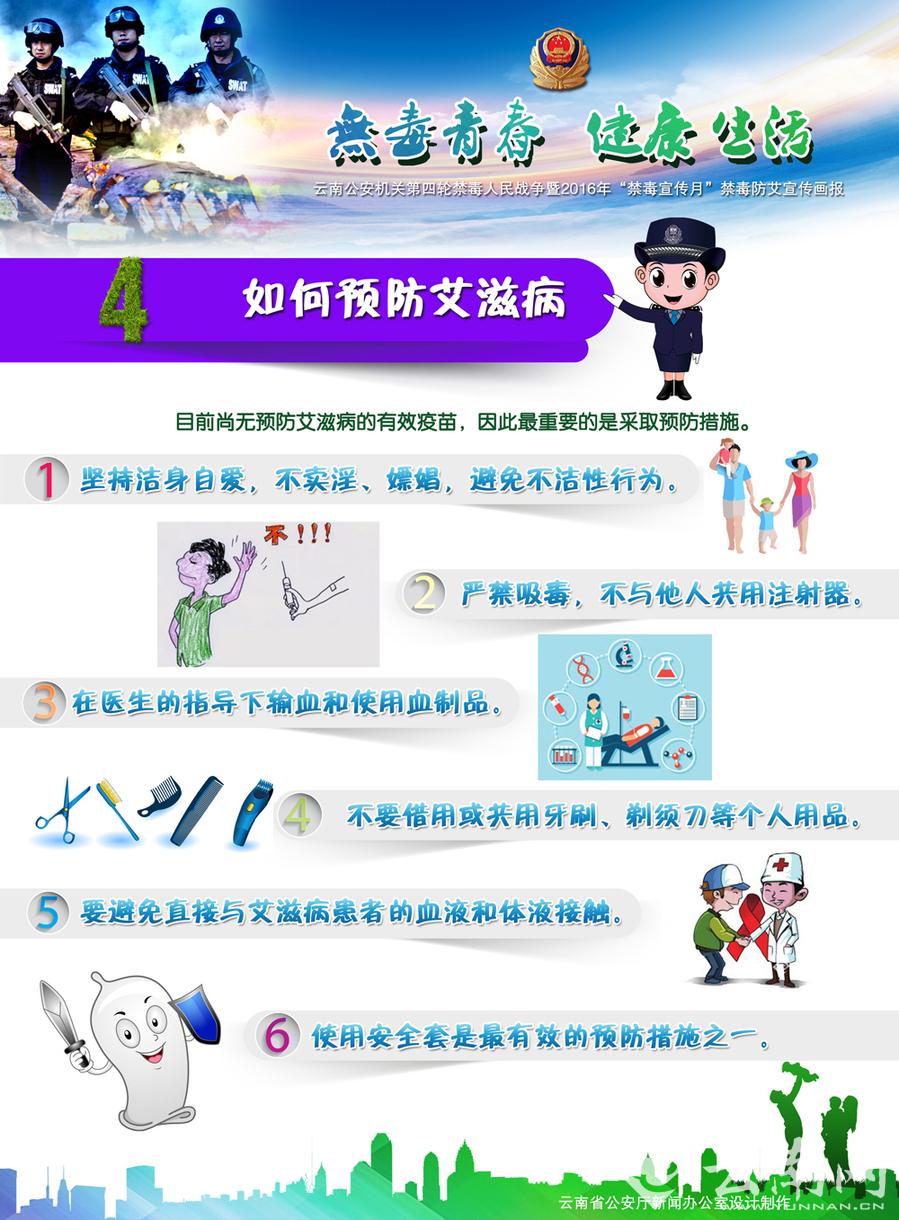 云南警方推出2016年禁毒及防艾宣传海报